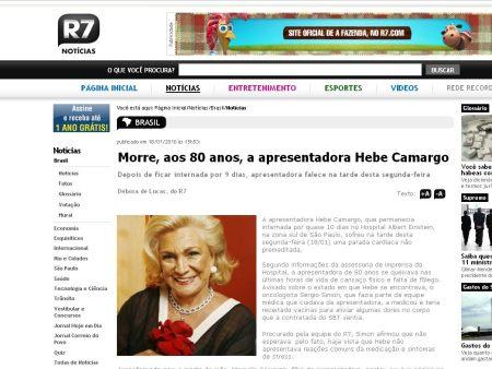 Hebe Camargo, morte, R7